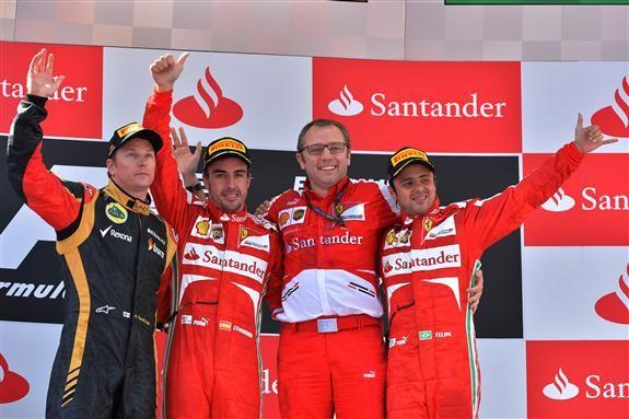 Raikkonen, l'ex che completa un podio dominato dal Rosso Ferrari con Domenicali fra Alonso e Massa