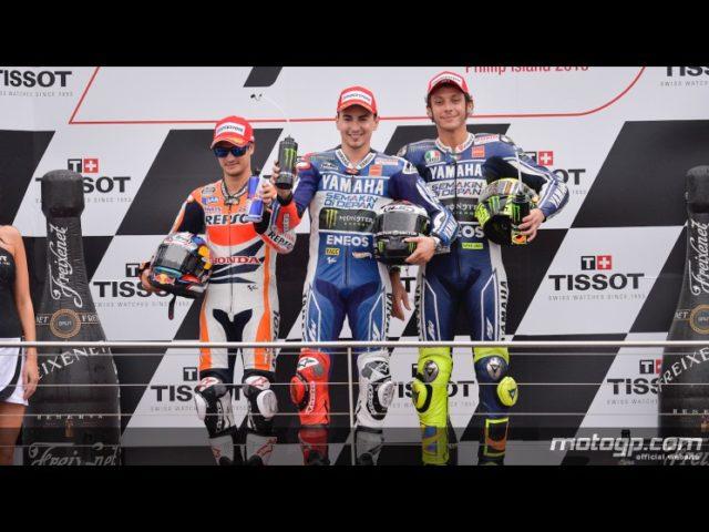 Il Podio della MotoGP con un raggiante Lorenzo fra Pedrosa ed un soddisfatto Rossi