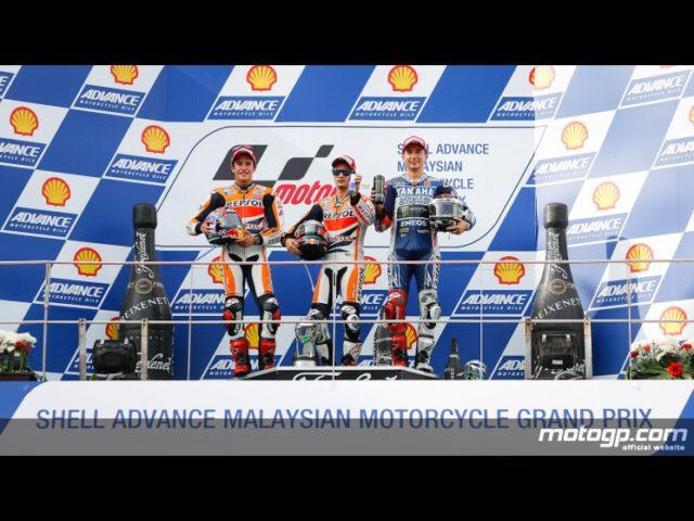Marquez Pedrosa e Lorenzo sul podio; il trio spagnolo ha dominato anche a Sepang.