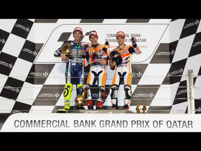 Il podio del Qatar con Rossi, Marquez e Pedrosa