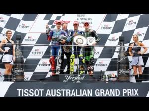 Il trio Yamaha sul podio con Rossi fra Lorenzo e Smith, al primo podio in MotoGP