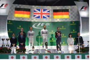 Hamilton, Rosberg e Vettel. Sul podio non c'è spazio per il sorriso