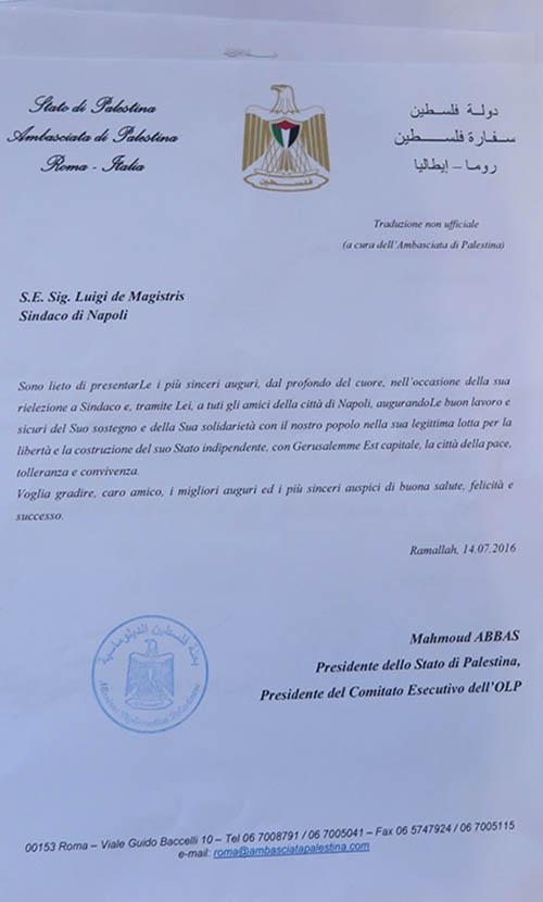 La lettera del Presidente Abu Mazen al Sindaco de Magistris
