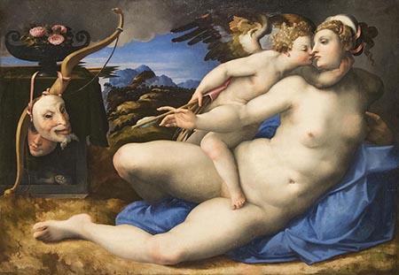 Attribuito a Hendrik van der Broecke - Venere e Amore da Michelangelo