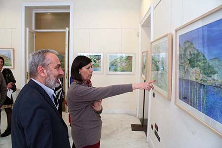 Lorenzo Santoro e Francesca Casule inaugurazione mostra 'Paesaggi'