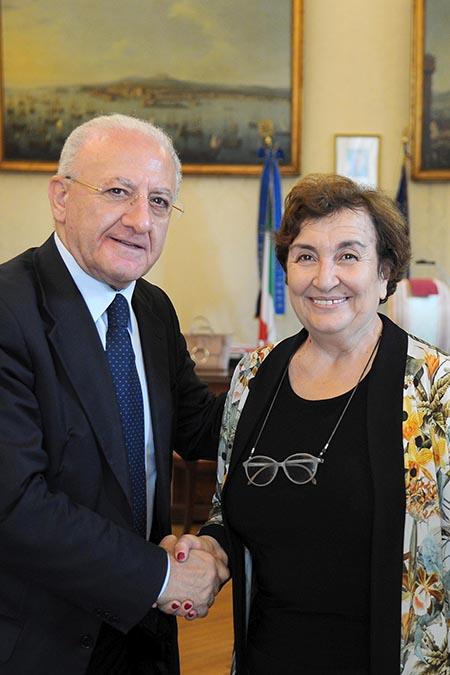 Presidente della Regione Campania, Vincenzo De Luca, e Prefetto di Napoli, Carmela Pagano. Foto Massimo Pica
