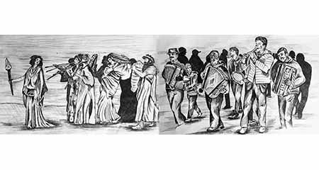 Corteo bacchico epoca greco-romana e corteo contemporaneo di tarantellisti di Montemarano
