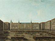 'Vista della Plaza Mayor di Madrid in giorno di mercato'