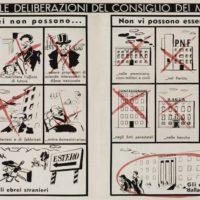 """""""1938 DIVERSI"""" vignetta con i divieti per gli ebrei dopo le leggi razziali"""