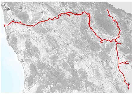 Tracciato ciclopista Arno