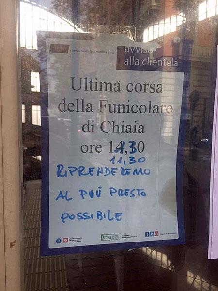 Napoli, Funicolare Chiaia, nuovo avviso di chiusura