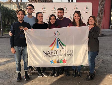 Il team dei laureati eccellenti del Suor Orsola al lavoro per le Universiadi 2019