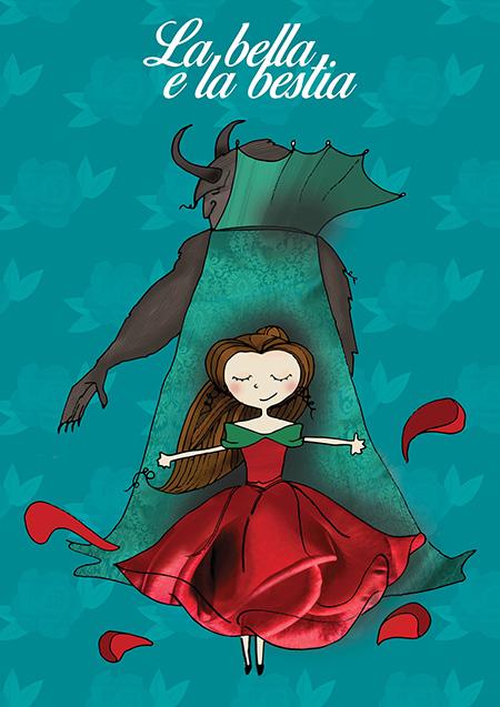Illustrazione 'La Bella e la Bestia' lettering©Illustrazione Silvia Carbotti