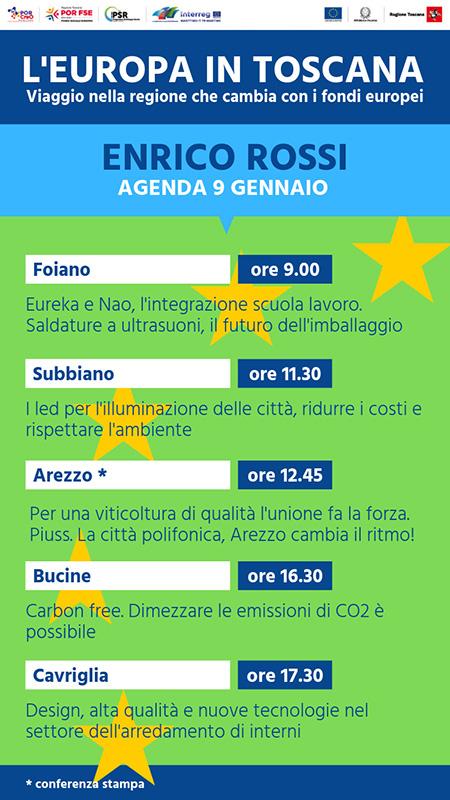 Europa in Toscana Enrico Rossi agenda del 9 gennaio 2019