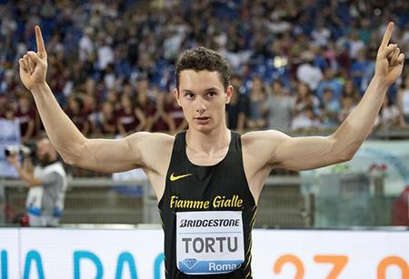 Filippo Tortu from Italy competes in the 100m Men at Rome Diamond League Golden Gala 2018 at Olimpico Stadium in Rome, 31 May 2018. ANSA - Claudio Peri