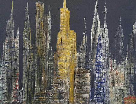 Leonardo Pappone Leopapp 'City 4.0' - tecnica misto acrilico su juta, formato 70x90 cm, anno 2018
