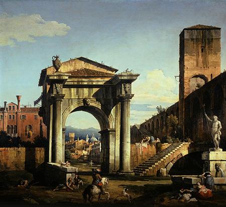 Bernardo Bellotto, Capriccio con porta civica e città veneta (1740s), Olio su tela
