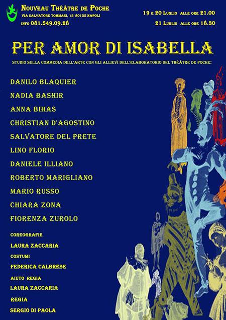 'Per amor di Isabella - Studio sulla Commedia dell'Arte con gli allievi dell'E-Laboratorio del Théâtre de Poche'.