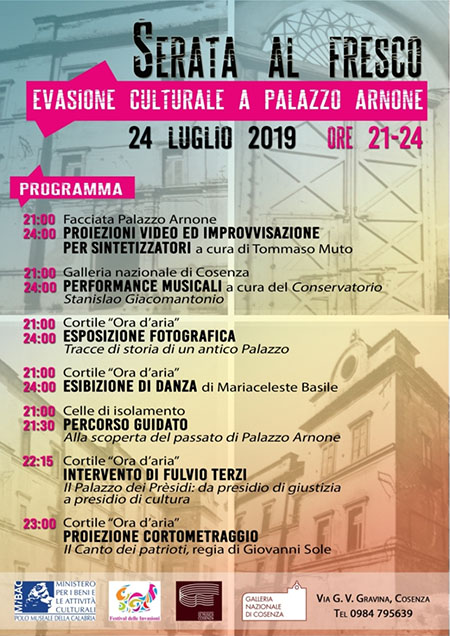 'Serata al fresco - Evasione culturale a Palazzo Arnone'