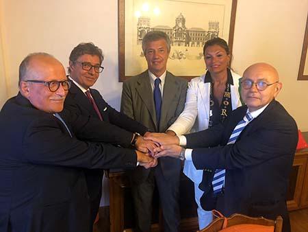 Vito Grassi, Vincenzo Schiavone, Michelino De Laurentiis, Raffaele Tortoriello e Marta Catuogno