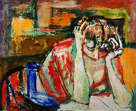 'Donna assorta nella lettura' - Guido Pajetta, 1955