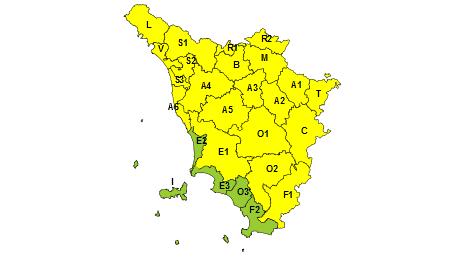 Toscana codice giallo 23 agosto 2019