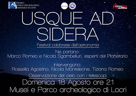 'Usque ad sidera', Festival calabrese dell'astronomia