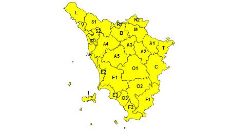Codice giallo Toscana 23 settembre 2019