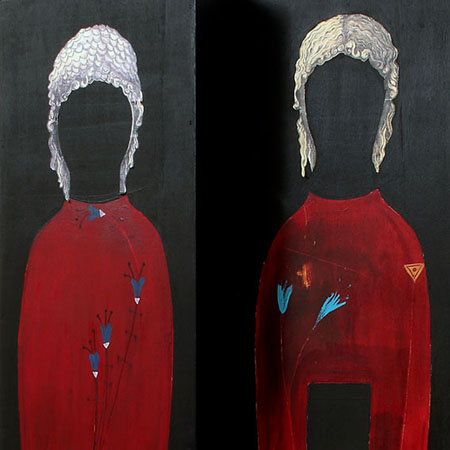Foto Luciano Basagni - Maria Pia Daidone, 2008, Doppia sagoma seduta, tecnica mista su legno, cm. 130x54x46, part.