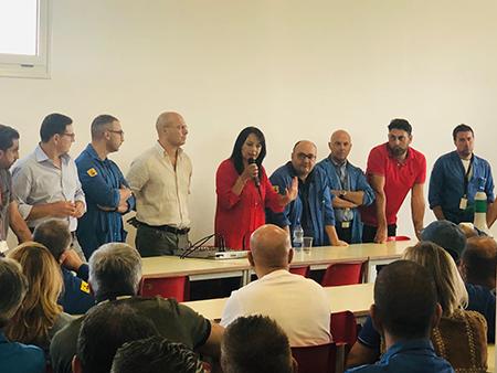 Sonia Palmeri e lavoratori Jabil