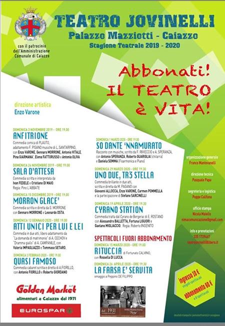 stagione 2019 - 2020 del Teatro Jovinelli