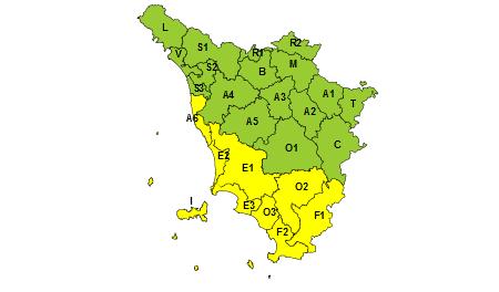 Toscana codice giallo 18/09/2019