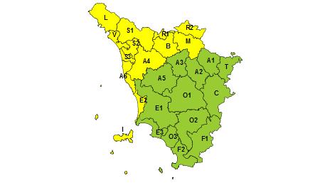 Toscana codice giallo 8 settembre 2019