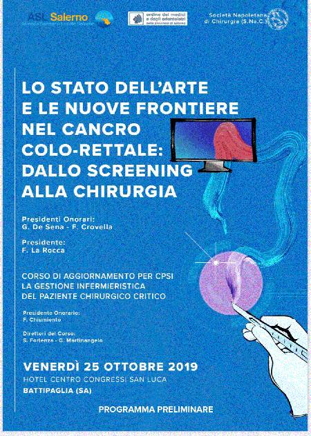 'Lo stato dell'arte e le nuove frontiere nel cancro colo-rettale: dallo screening alla chirurgia'