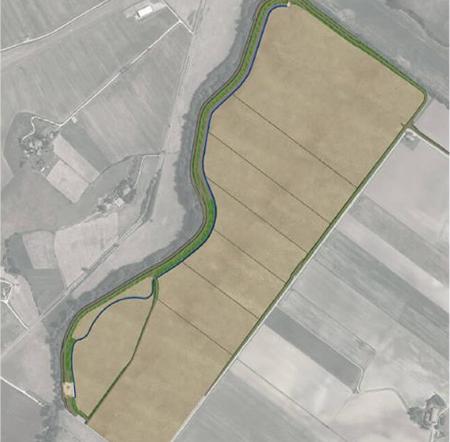 Rendering della cassa di espansione Santa Giulia sul fiume Elsa