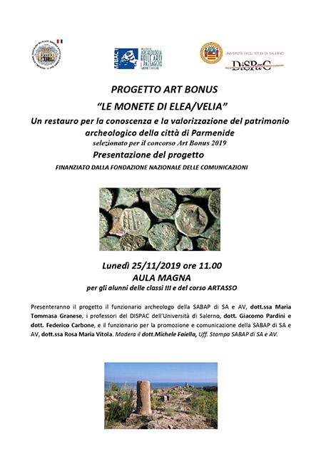 Presentazione progetto di restauro monete antiche di Elea / Velia