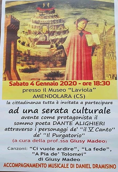 Serata culturale dedicata al sommo poeta Dante Alighieri