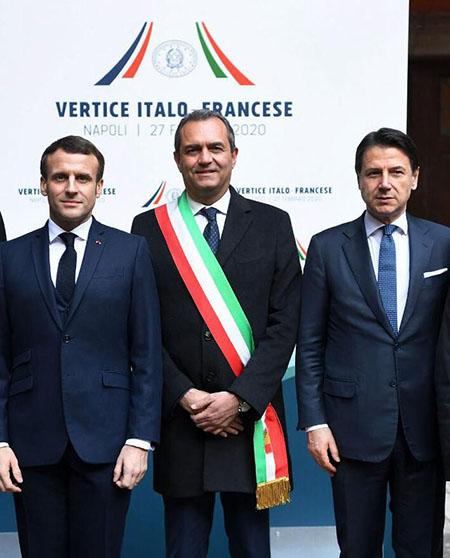 Emmanuel Macron, Luigi de Magistris e Giuseppe Conte