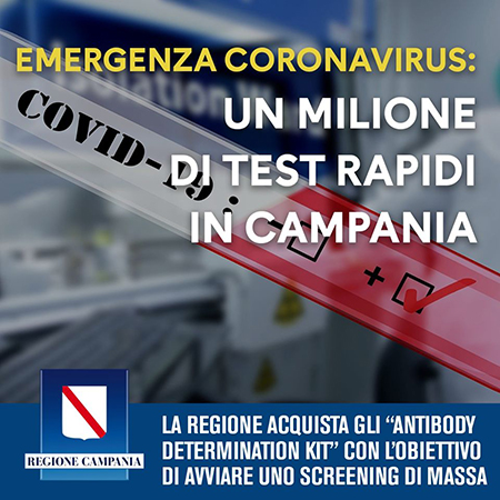 Covid-19 Campania, screening con il test rapido