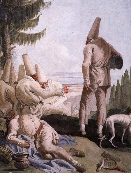 Giandomenico Tiepolo, La partenza di Pulcinella, 1797, affresco. Ca' Rezzonico, Venezia