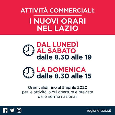 Nuovi orari attività commerciali in Lazio