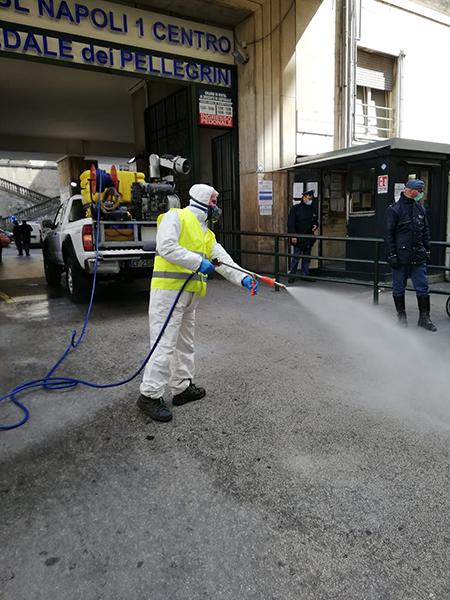 sanificazione e igienizzazione Ospedale dei Pellegrini Napoli