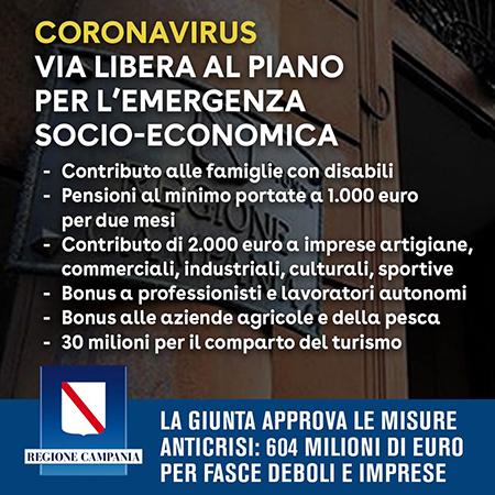 Coronavirus Piano Socio Economico della Regione Campania