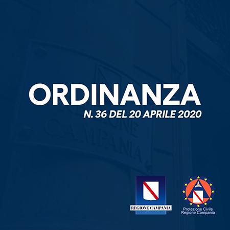 Covid-19 Regione Campania ordinanza n.36 del 20 aprile 2020
