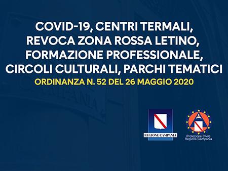 Covid-19 Campania, Ordinanza n.52 del 26 maggio 2020
