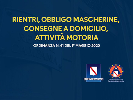 Covid-19 Campania, Ordinanza n.41 del 1° maggio 2020