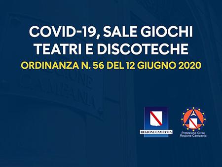 Covid-19 Campania, Ordinanza n. 56 del 12 giugno 2020