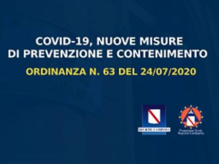 Covid-19 Campania, ordinanza n.63 del 24/07/2020