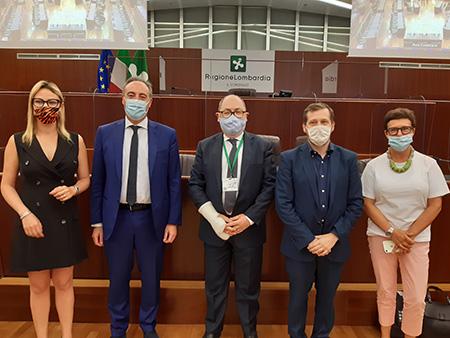 Simona Tironi, Giulio Gallera, Marco Trivelli, Emanuele Monti e Antonella Forattini