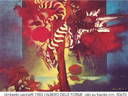 Umberto Leonetti, 1982, 'L'albero delle forme', olio su tavola cm 50x70